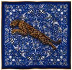 50JSTSILKCOB - Hevábný šátek Jaguar (Cobalt)